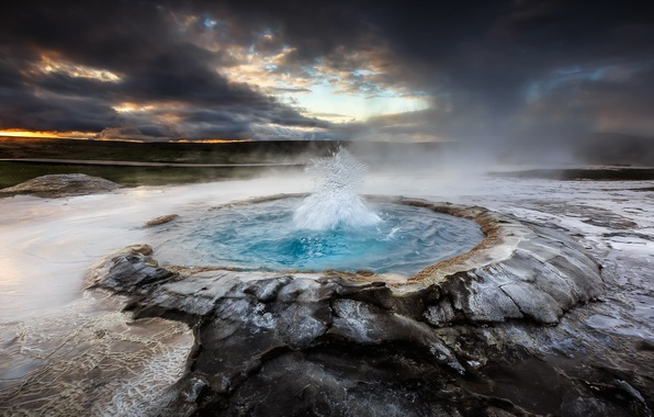 Picture the sky, water, sunset, nature, the volcano, glacier, Iceland, geyser