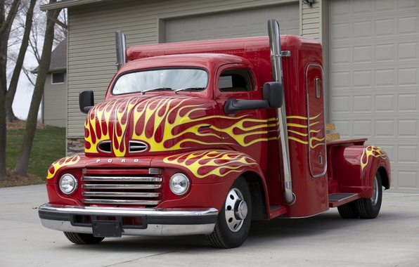 Picture red, tuning, car, classic, Ford COE, full-size universal, 1950
