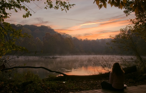 Picture forest, girl, trees, lake, morning