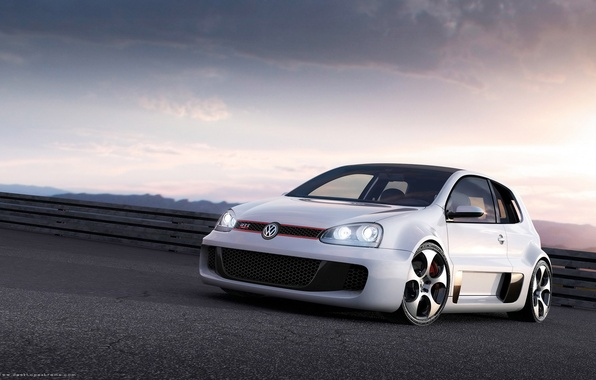 Picture white, the evening, Volkswagen