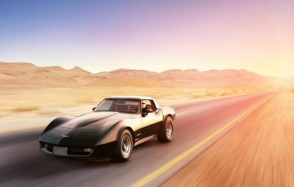 Picture black, desert, speed, Corvette, Chevrolet, Chevrolet, black, desert, front, Corvette, Stingray, Stingray