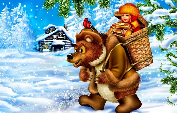 Picture snow, birds, house, basket, oil, tale, bear, girl, pancakes, carnival, bullfinches