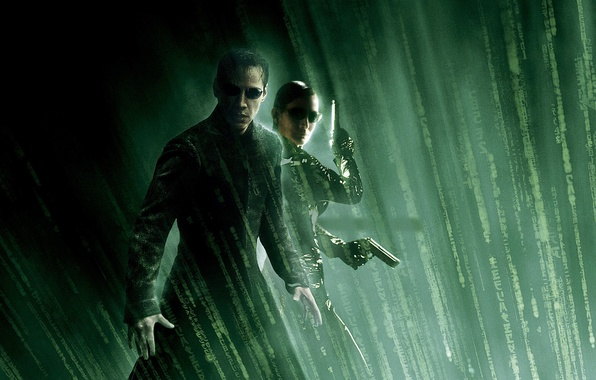Picture guns, Trinity, Neo, Keanu Reeves, Matrix, Carrie-Anne Moss