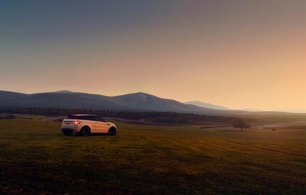 Picture field, machine, sunset, hills, Land Rover, Range Rover, Evoque