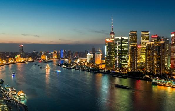 Picture lights, China, building, panorama, China, Shanghai, Shanghai, night city, skyscrapers, the Huangpu river, Huangpu River