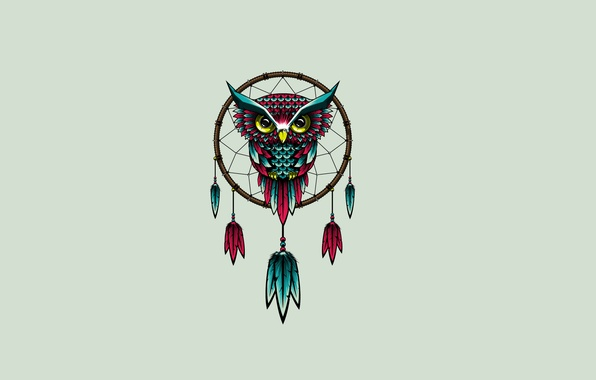 Picture owl, bird, minimalism, owl, Dreamcatcher, Dreamcatcher