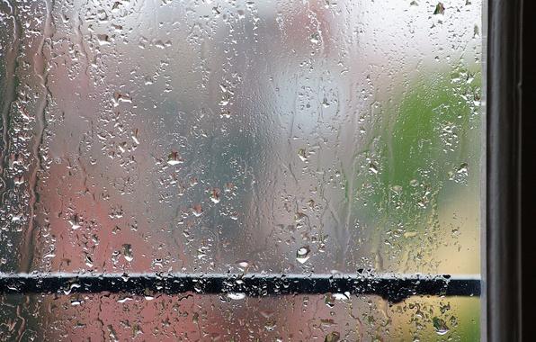Picture rain, window, handrail