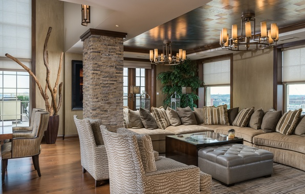 Picture design, sofa, pillow, chairs, chandelier, living room