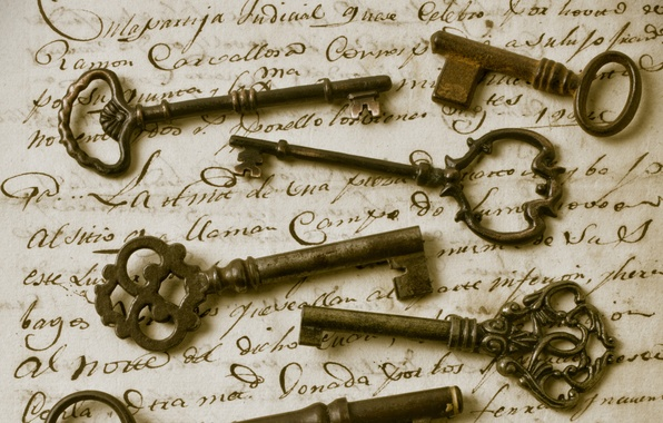 Picture letter, retro, Sepia, keys, vintage, Vintage