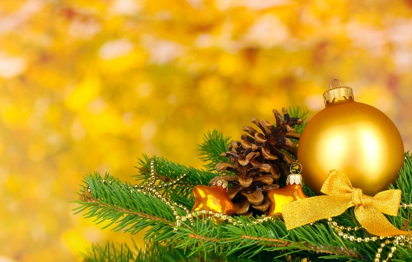 Picture yellow, background, holiday, balls, Wallpaper, toys, tree, new year, Christmas, blur, wallpaper, new year, bump, …