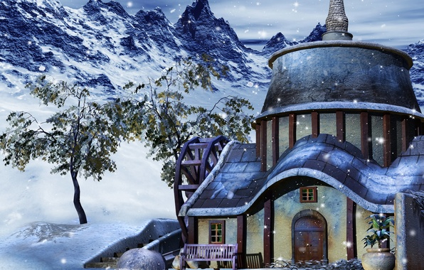 Picture photo, Winter, Snow, House, 3D Graphics