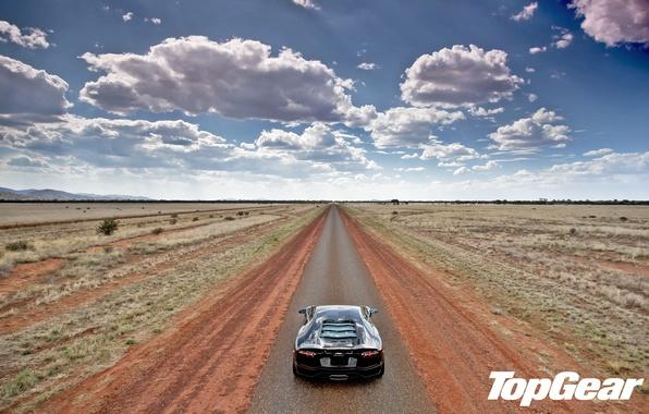 Picture road, the sky, clouds, the steppe, black, Lamborghini, horizon, supercar, rear view, top gear, LP700-4, …