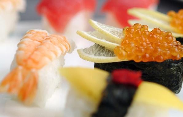Picture lemon, food, shrimp, figure, caviar, delicious, sushi