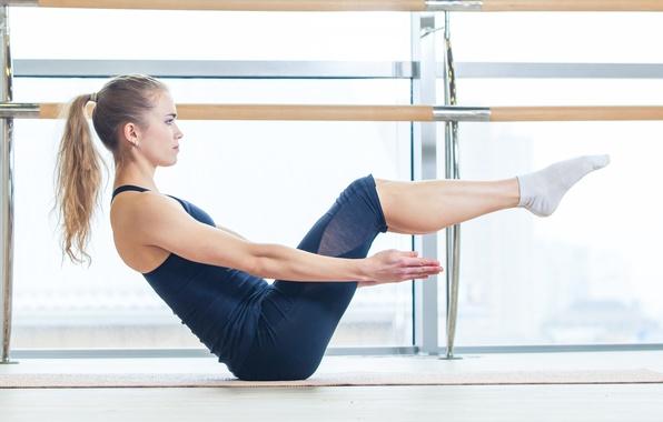 Picture blonde, pose, yoga, sportswear