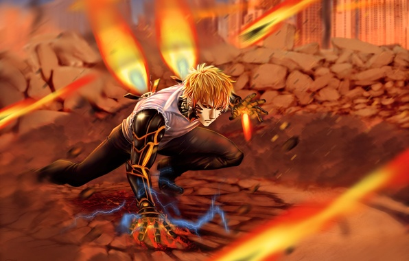 Picture fire, robot, guy, anime, art, cyborg, One Punch Man, OnePunch Man, Geno