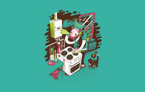 Picture cat, vector, cleaning, kitchen, plate, j3concepts