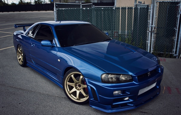 Picture blue, nissan, r34, skyline gtr