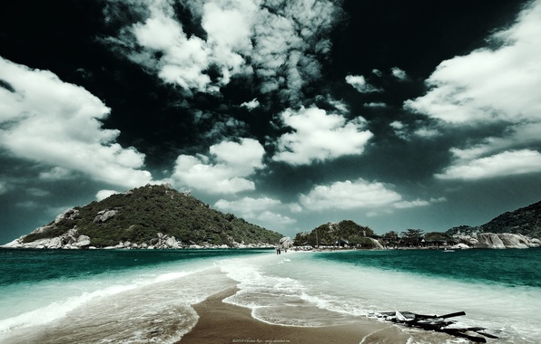 Picture sand, sea, the sky, clouds, mountains, shoal