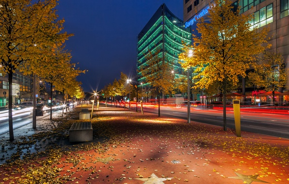 Picture road, autumn, leaves, trees, night, the city, building, excerpt, Germany, benches, Germany, Berlin, Berlin, Boulevard …