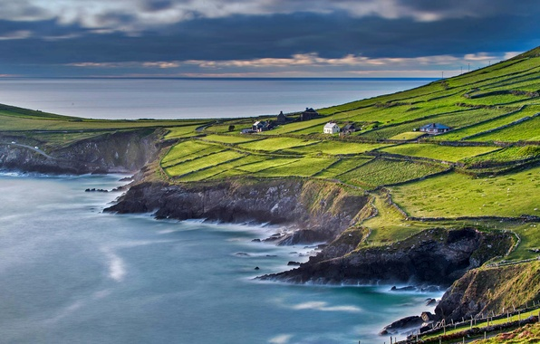 Picture sea, field, house, slope, Ireland, County Kerry