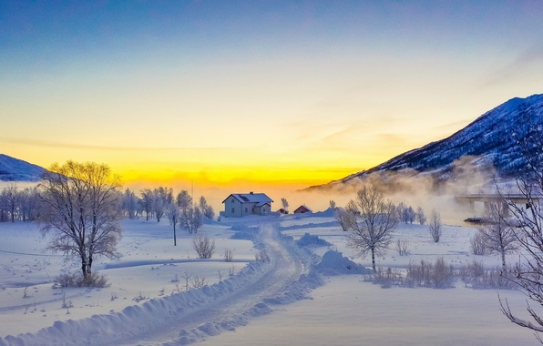 Picture winter, road, snow, trees, sunset, mountains, house, Norway, Norway, The Lofoten Islands, Lofoten
