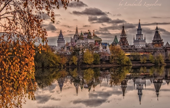 Picture autumn, water, trees, pond, reflection, Moscow, temple, Russia, architecture, The Izmailovo Kremlin