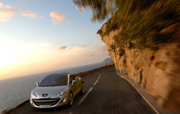 Picture road, auto, the sky, water, Peugeot, 308RC
