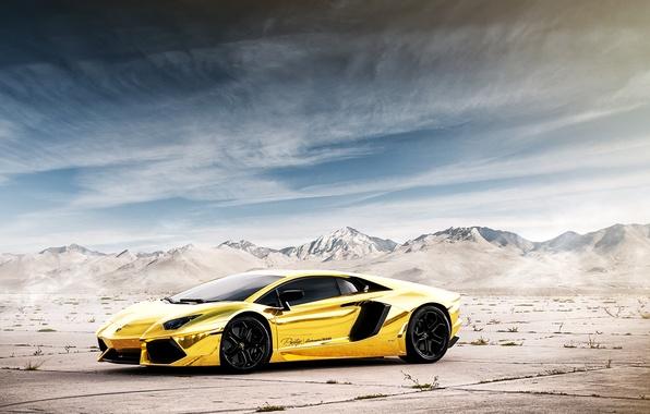 Photo Wallpaper The Sky Mountains Reflection Lamborghini LP700