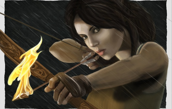 Picture look, girl, face, weapons, fire, pattern, hair, the game, bow, art, arrow, Tomb Raider, Lara …