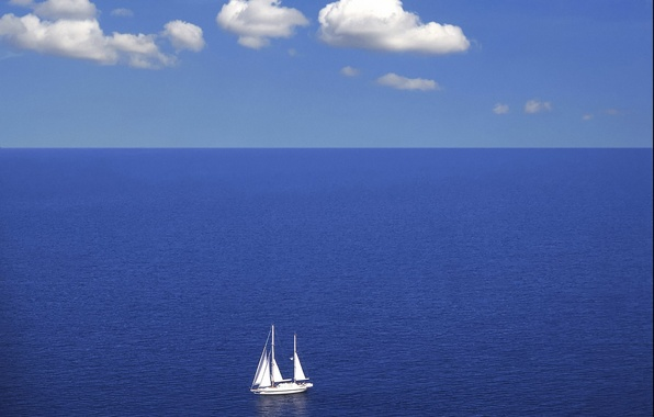 Picture sea, clouds, blue, yacht, horizon