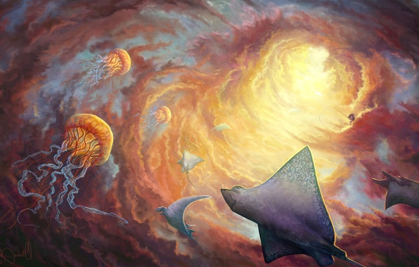 Picture the sky, clouds, light, fantasy, art, jellyfish, rays, funnel