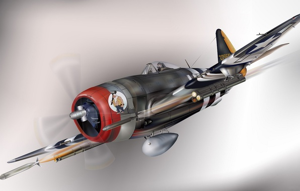 Picture the plane, fighter, art, USA, bomber, BBC, Thunderbolt, P-47, Republic, WW2., the sky