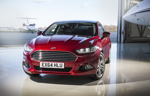 Picture photo, Ford, Car, Burgundy, Front, Mondeo, 2015, Metallic