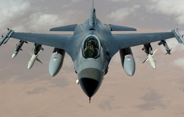 Picture Wallpaper, Fighter, missiles, pilot, USA, the plane, bombs, Fighting, BBC, F-16, Falcon, multipurpose, Fighting Falcon