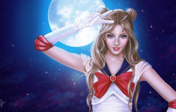 Picture look, girl, night, the moon, anime, art, costume, Sailor moon