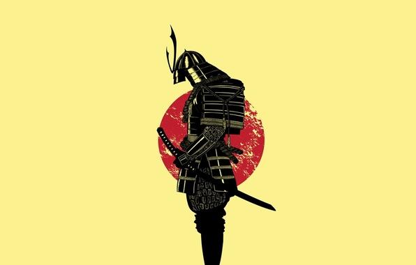 Picture the sun, sword, warrior, Samurai