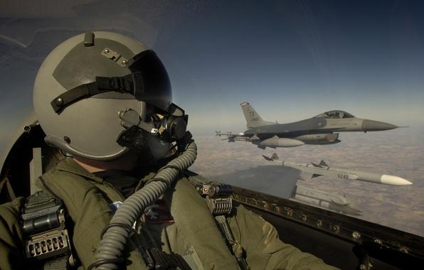 Picture the sky, clouds, aviation, Wallpaper, helmet, wallpaper, cabin, pilot, the plane, pilot, military