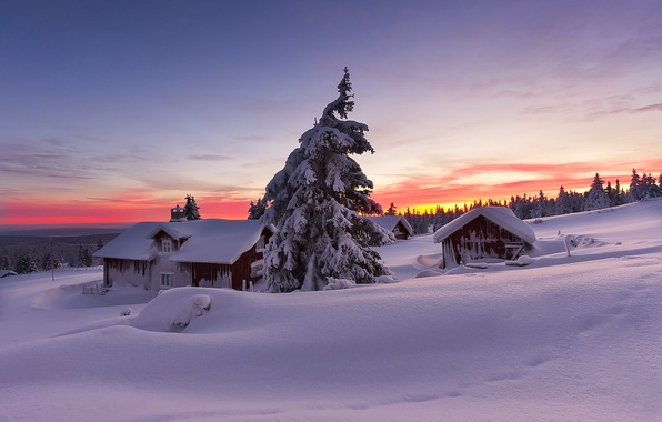 Picture winter, the sky, snow, landscape, nature, house, house, white, sky, landscape, nature, sunset, beautiful, winter, …
