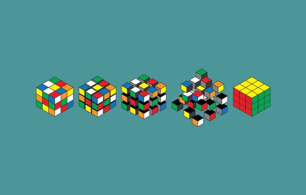 Picture color, background, blue, Wallpaper, graphics, minimalism, art, Rubik's cube, options, Assembly