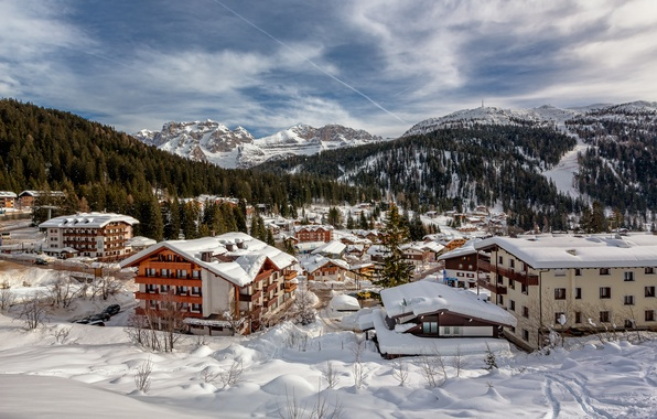 Picture winter, snow, mountains, home, Alps, Italy, panorama, the village, Italy, Alps, Madonna di Campiglio, Madonna …