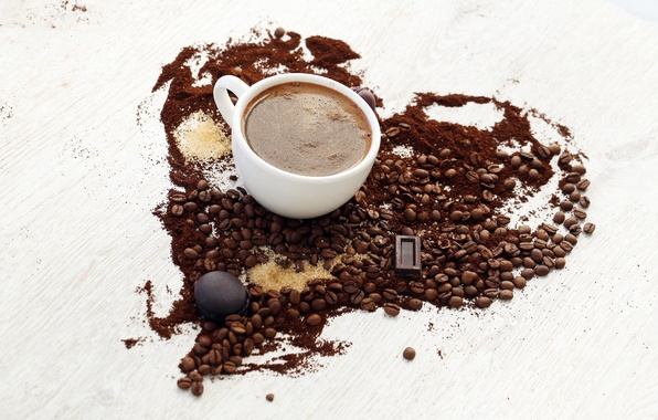 Picture heart, coffee, chocolate, grain, cookies, Cup, sugar, white