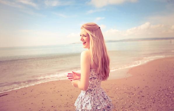 Picture sand, beach, summer, girl, landscape, smile, mood, shore, hair, laughter, hands, girl