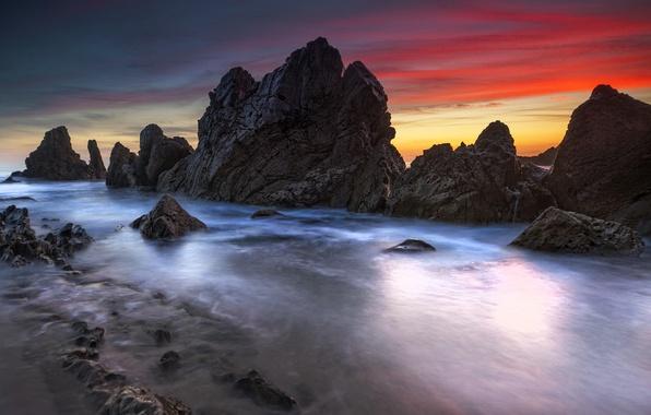Picture sea, sunset, rocks