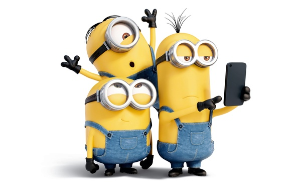 Picture cartoon, yellow, glasses, white background, gloves, jumpsuit, three, Minions, Minions
