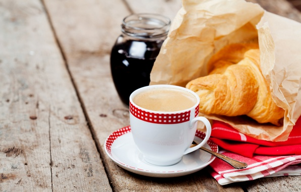 Picture coffee, Breakfast, Cup, Board, cakes, Coffee, jam, Cup, croissant, baking, Growing