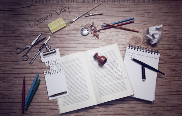 Picture autumn, table, a month, figures, handle, Notepad, book, pencil, 2012, school, brush, calendar, items, scissors, …