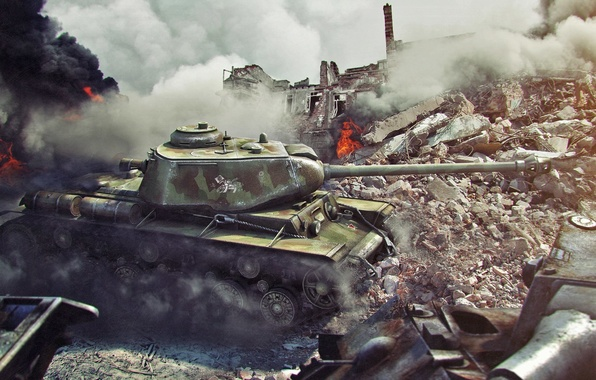 Picture the city, fire, war, tank, ruins, tanks, world of tanks, brew, wot, the kV-1s