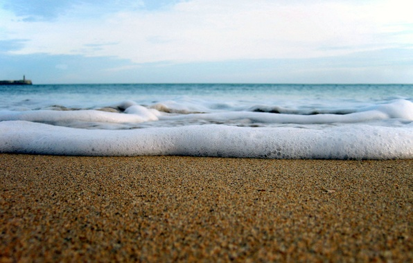 Picture sand, sea, wave, the sky, freedom, foam
