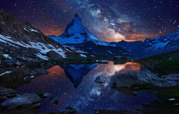 Picture the sky, stars, snow, night, lake, mountain, Switzerland, Alps, top, the milky way, Switzerland, Matterhorn, …