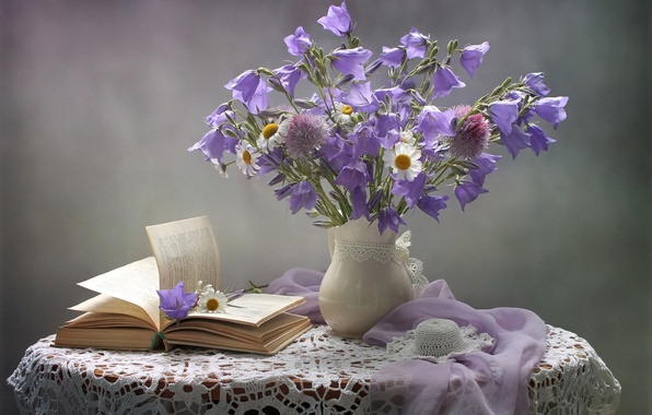 Picture hat, tenderness, chamomile, bouquet, bells, book